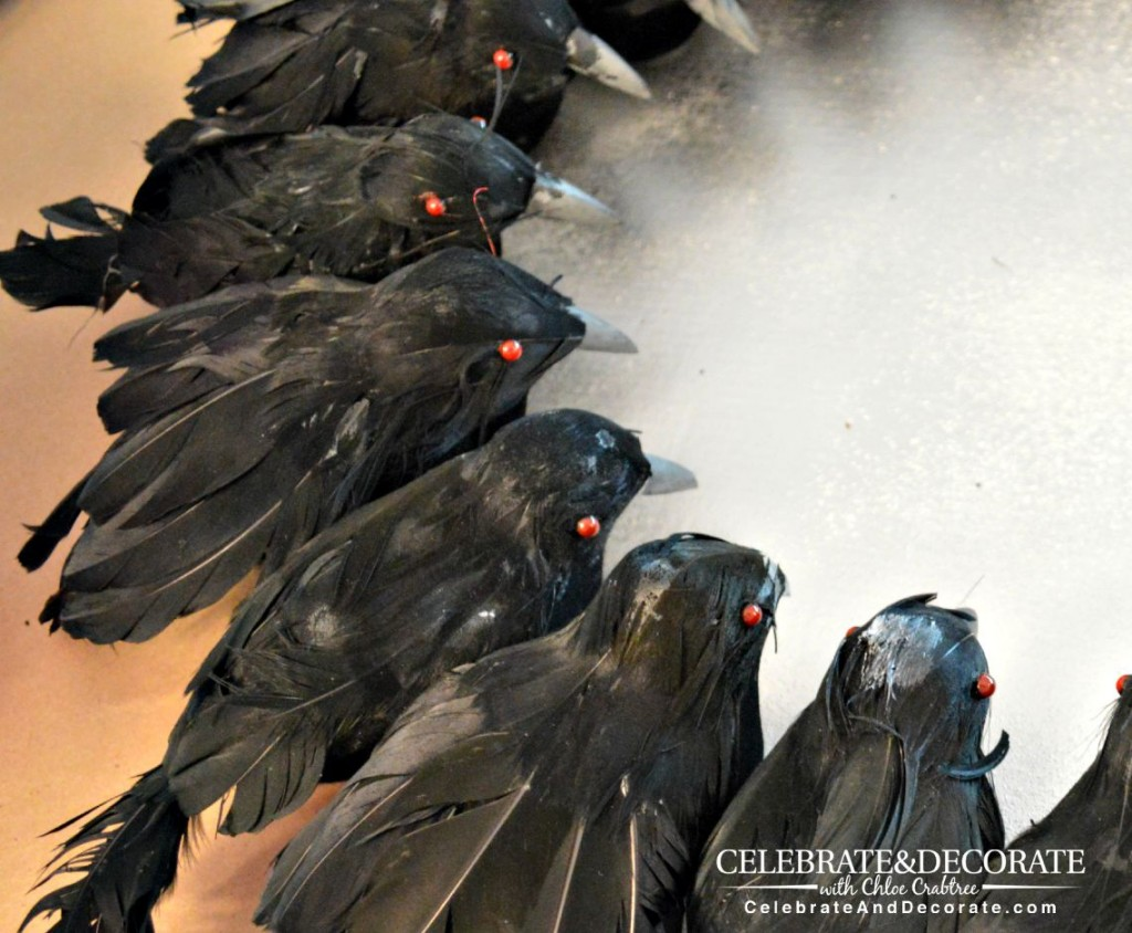 Creepy red eyes on the crows
