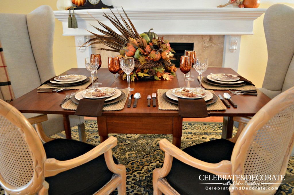 Fall Tablescape with Pheasant Dishes