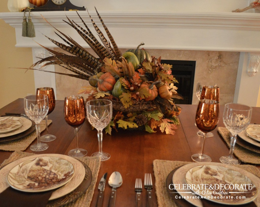 Pheasant Inspired Fall Table with a DIY Centerpiece