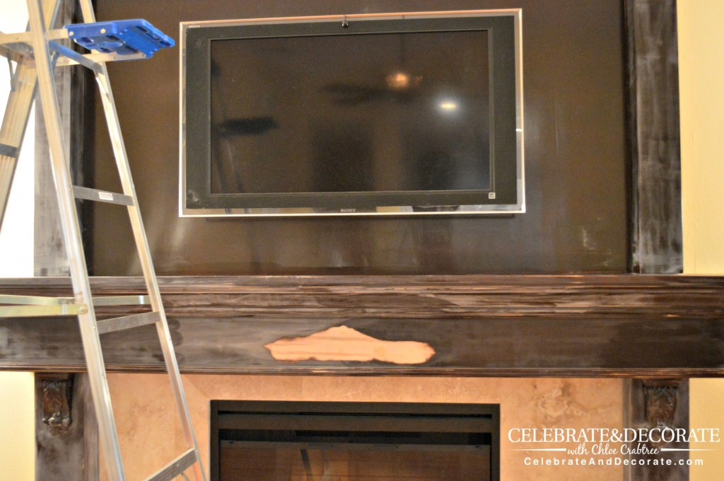 Sanding the fireplace surround