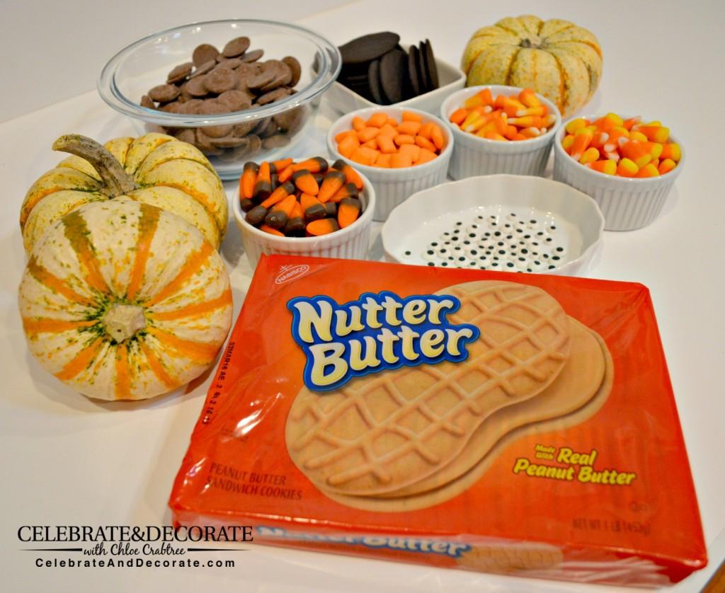 Supplies for making Nutter Butter Turkeys