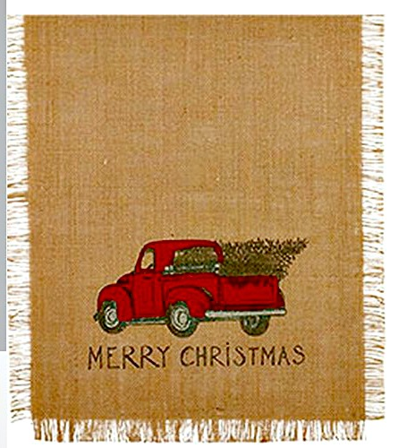 Christmas table runner featuring a red pick up truck with a tree in the back