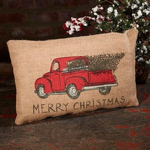 red truck burlap christmas accent throw pillow