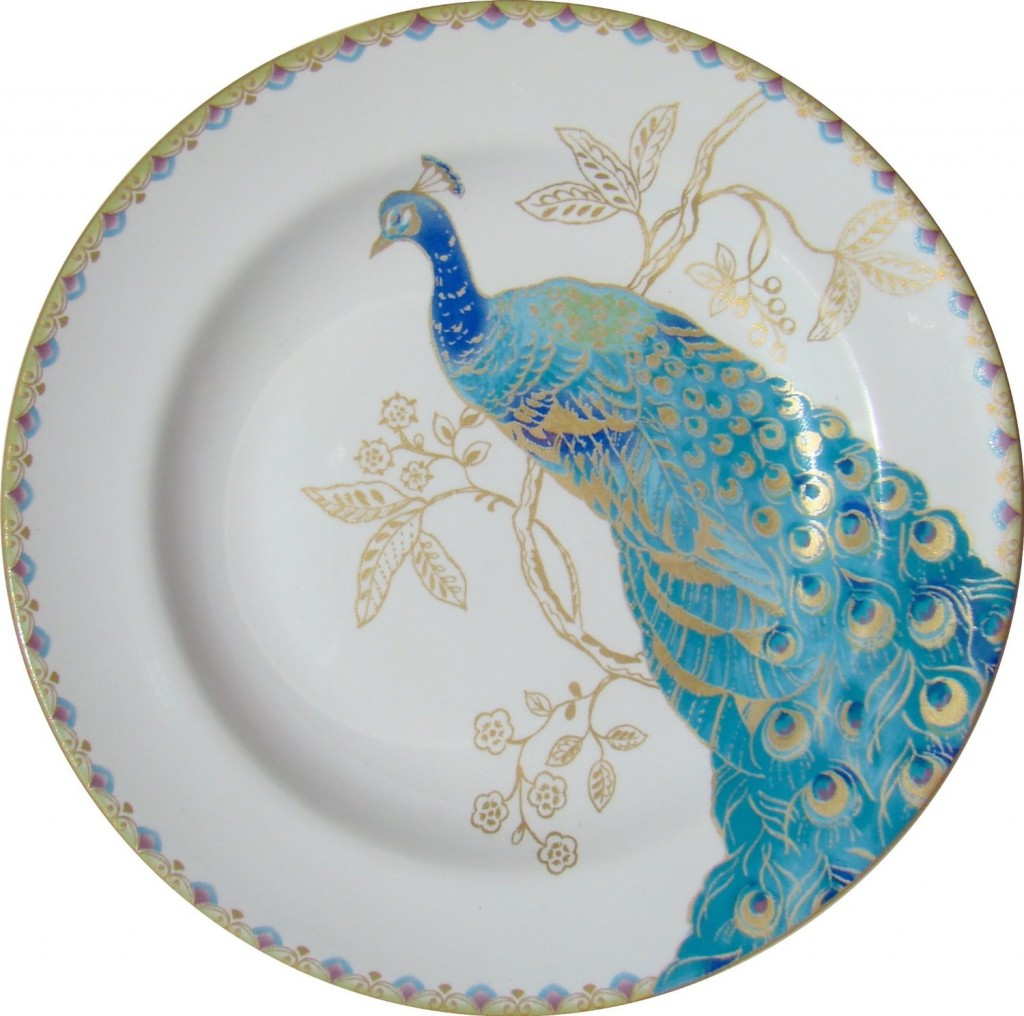 peacock tablescape plates
