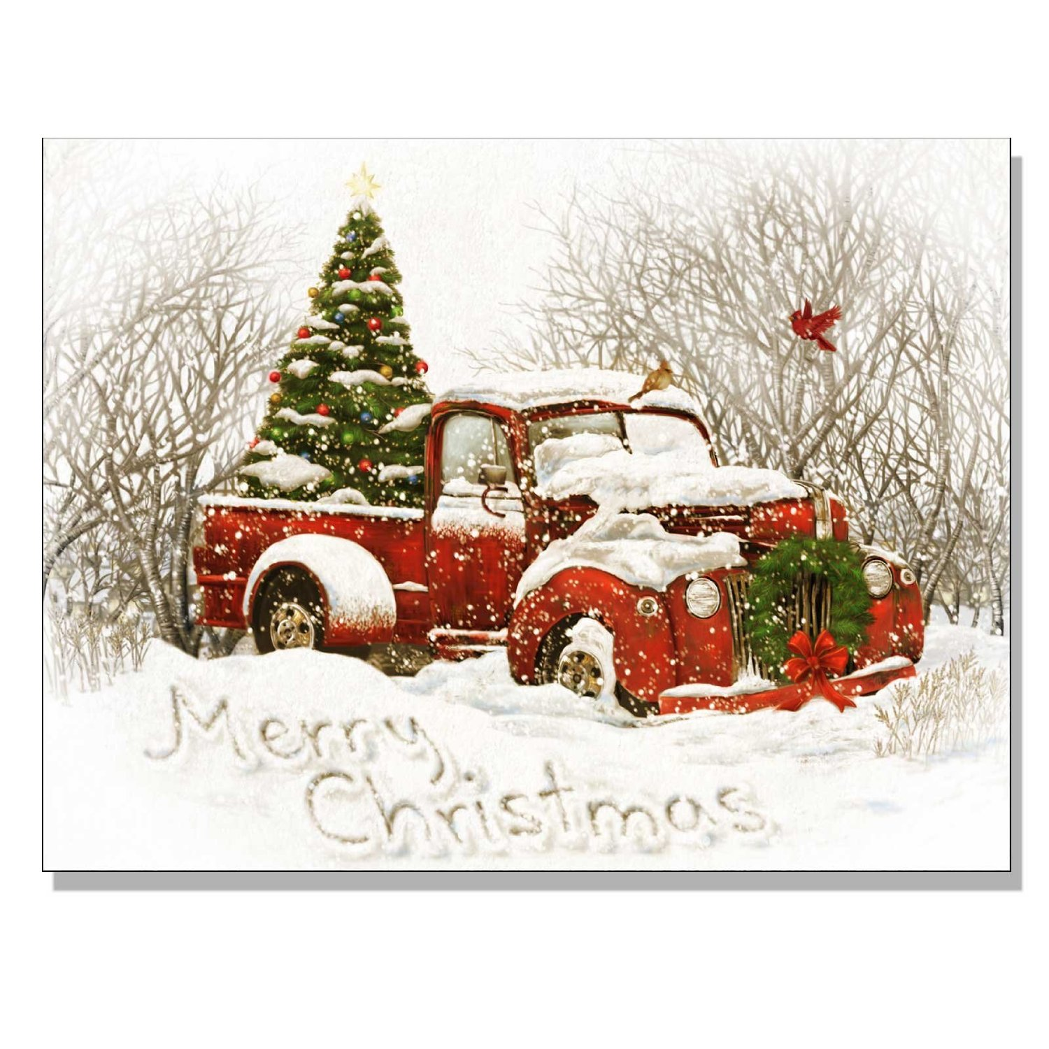 light up christmas canvas decor of an old red pick up truck with a christmas tree