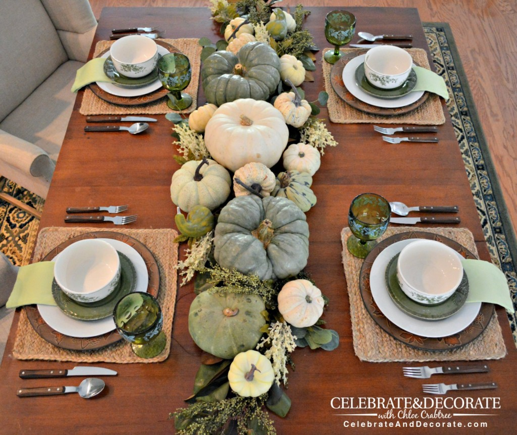 A Green and White Thanksgiving Tablescape