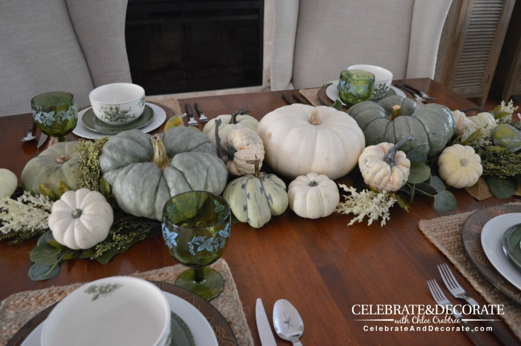 A Thanksgiving Tablescape in Green and White