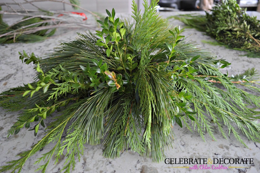 DIY Evergreen Centerpiece