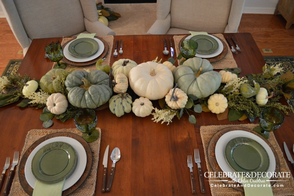 Green and White Fall Tablescape
