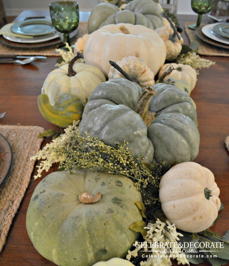 Green and white pumpkin centerpiece