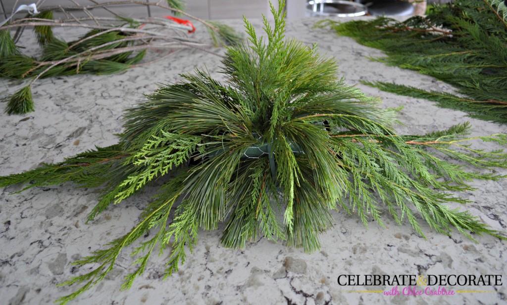 Making an evergreen arrangement