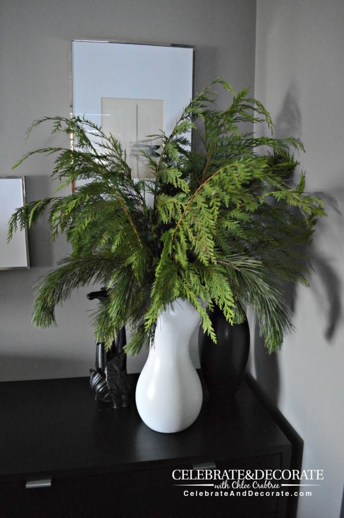 Modern vase full of fresh Christmas Greens