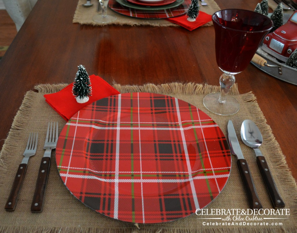 Plaid chargers for a rustic Christmas Table