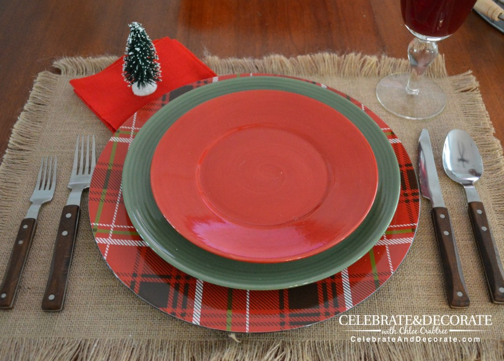 Red and Green plates for a Rustic Christmas Tablescape