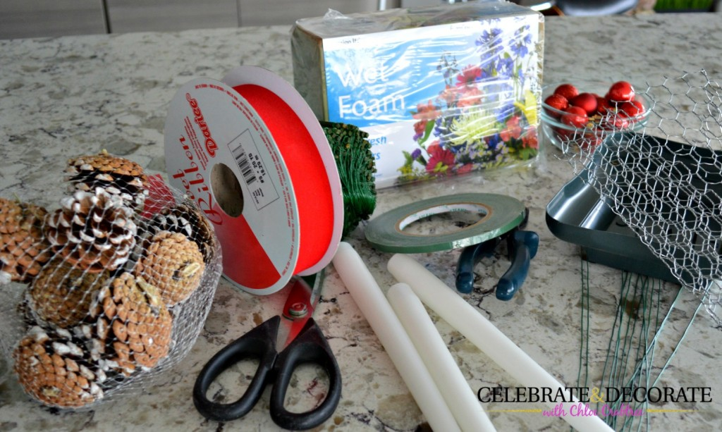 Supplies to make a Christmas Centerpiece