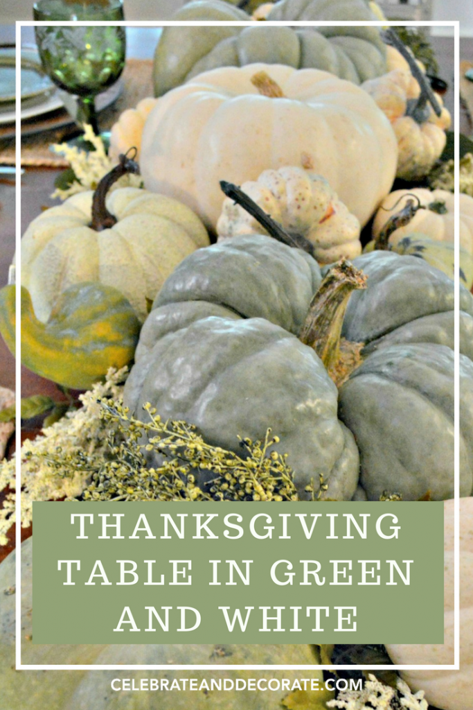 Thanksgiving table in green and white