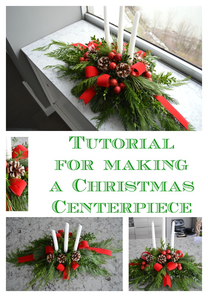 Diy evergreen christmas centerpiece celebrate decorate tutorial for making a christmas centerpiece solutioingenieria Images