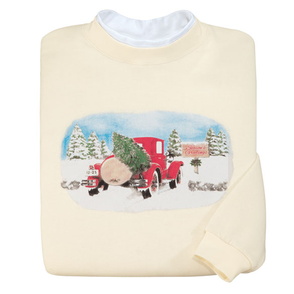 Holiday sweatshirt with an old red car with a tree in the back
