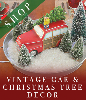Vintage Car and Christmas Tree Decor