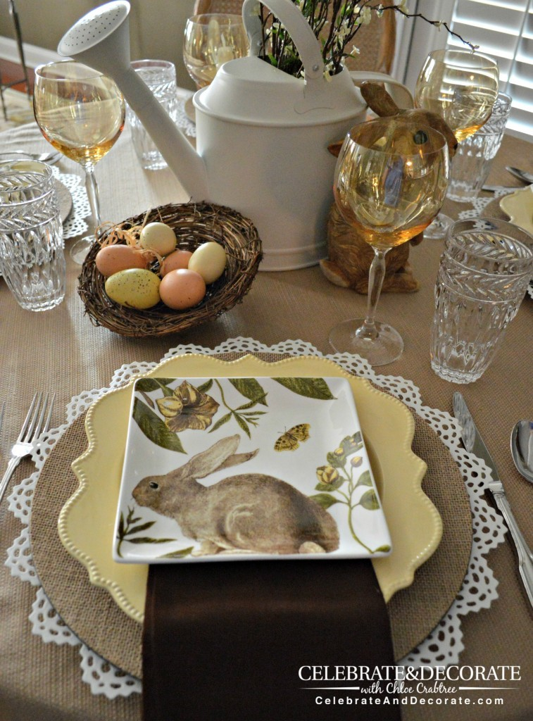 A Neutral Easter tablescape in muted pastels.