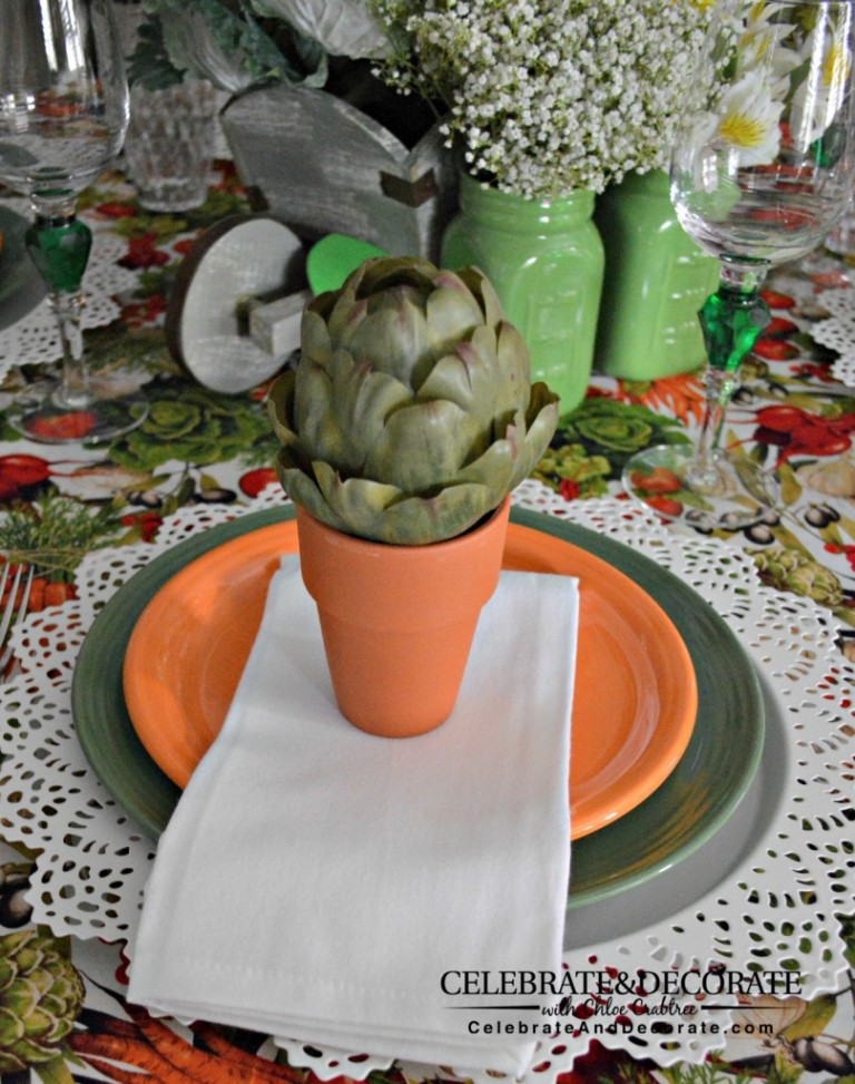 Celebrate summer's harvest with this fun vegetable garden tablescape.