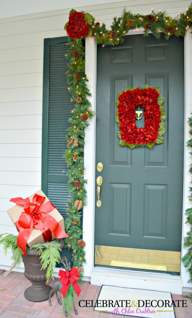Christmas Front Door with red Hydrangea Wreath