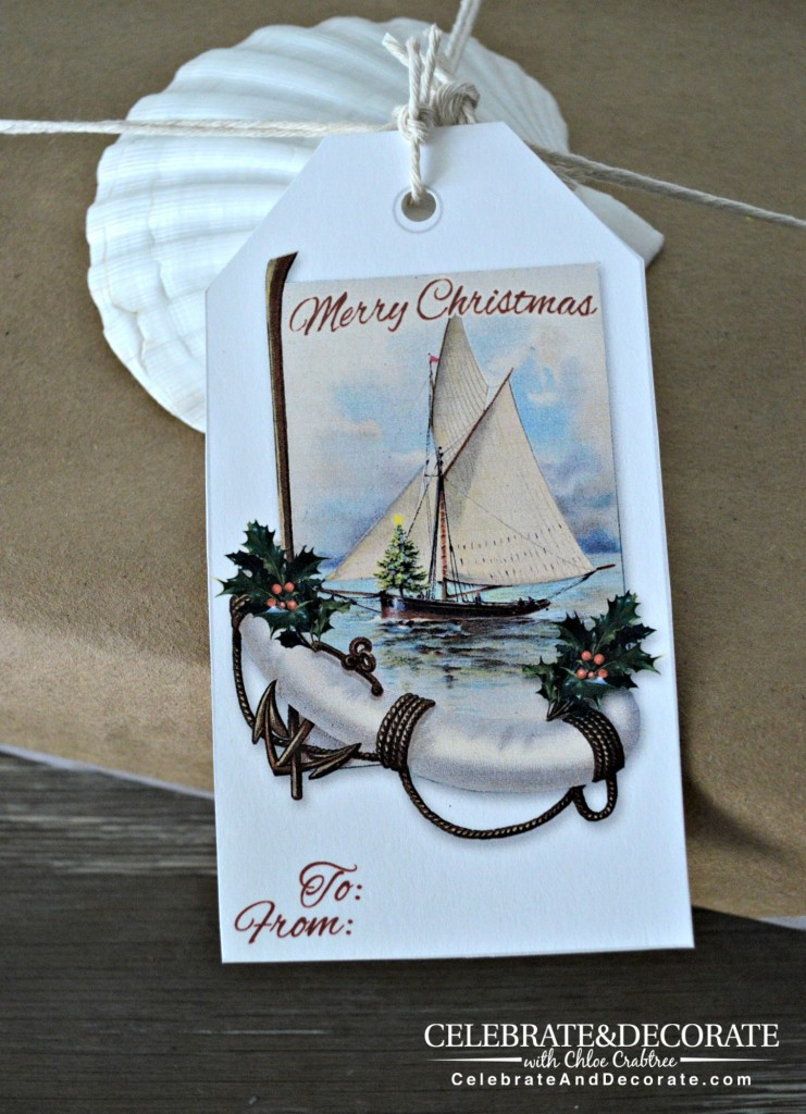 Coastal Christmas Gift Tag Printable
