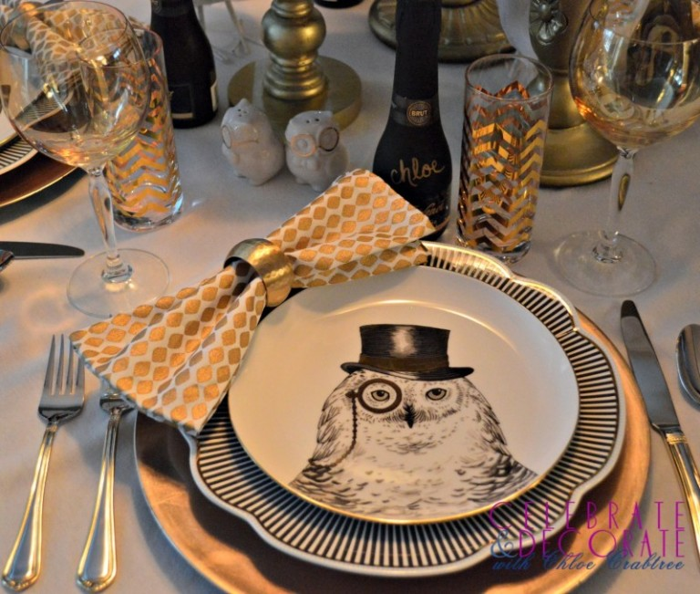 Dapper Owl Tablescape for a formal dinner party