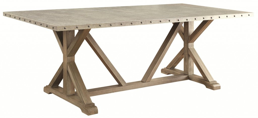 Dining table with a metal top
