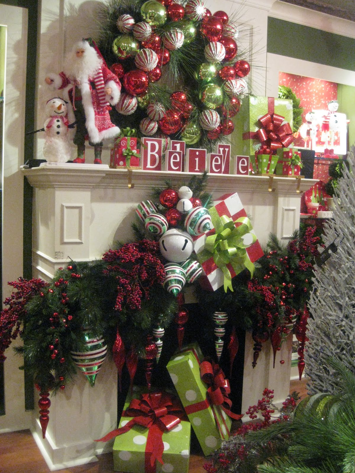 Mantels Dressed for Christmas and a Link Party