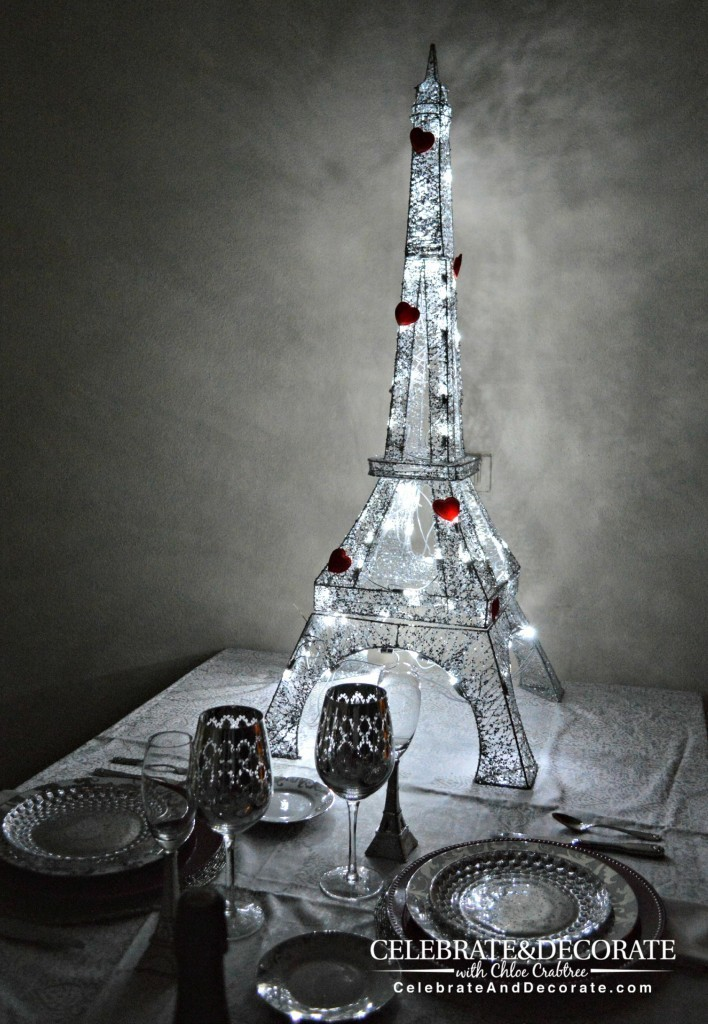 Parisian celebration of love for a Valentine's dinner for two.