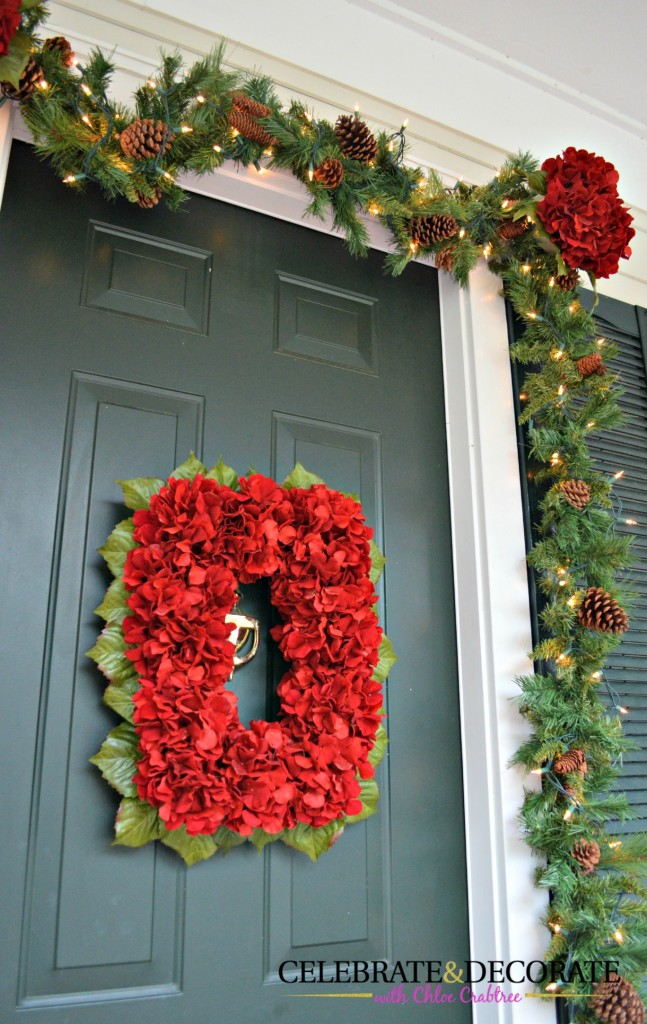 Red Hydrangea Wreath for Christmas