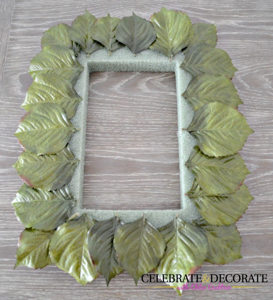 Wreath with silk leaves around the border