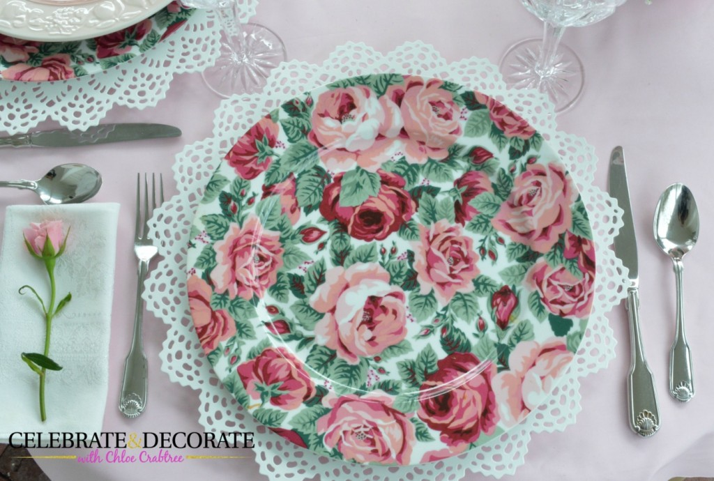 Cabbage Rose plate for a Mother's Day luncheon