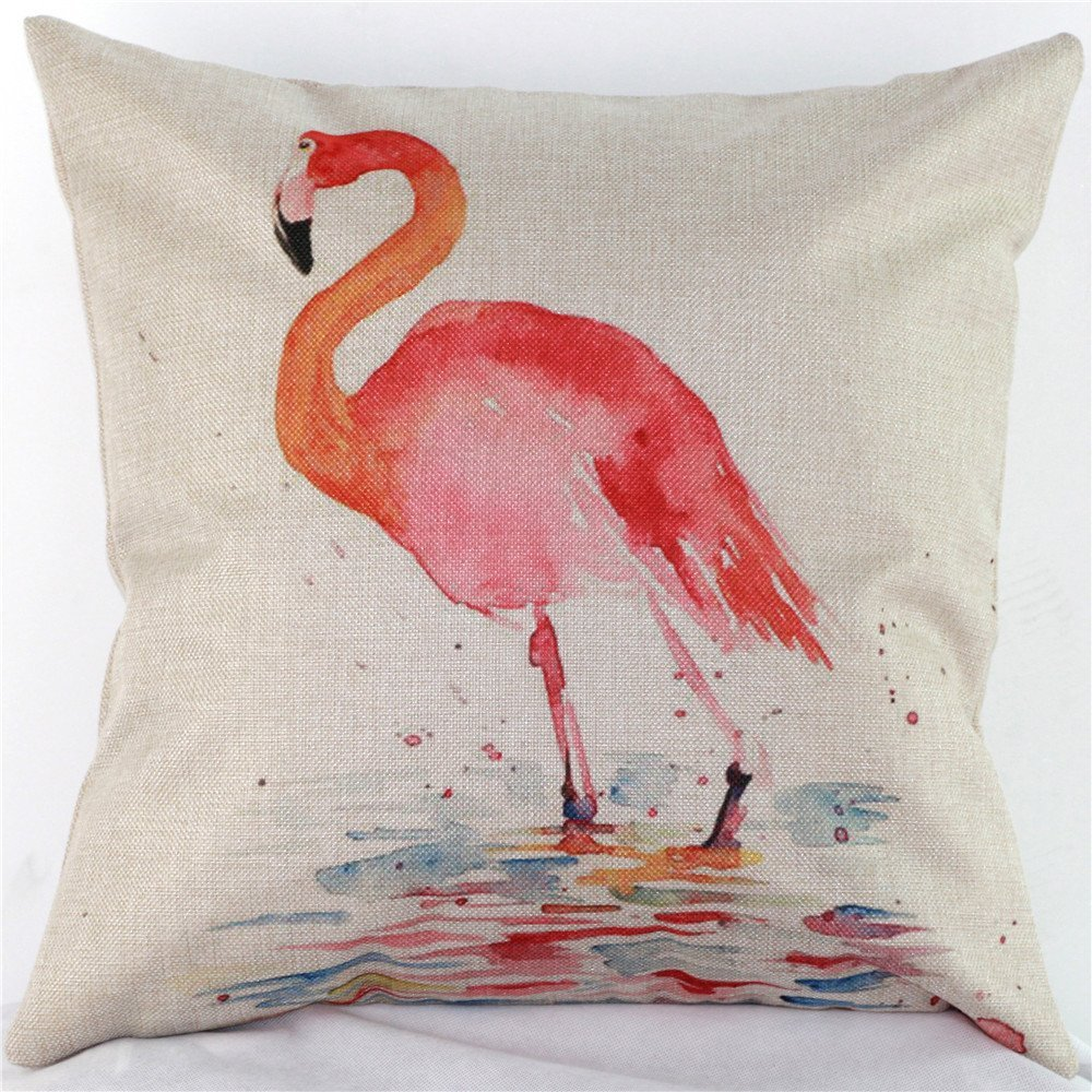 Flamingo Watercolor Pillow cover