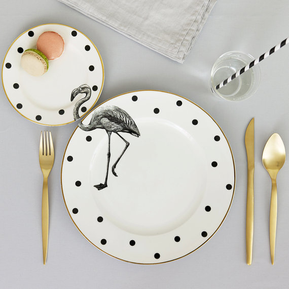 Flamingo dishes in black and white
