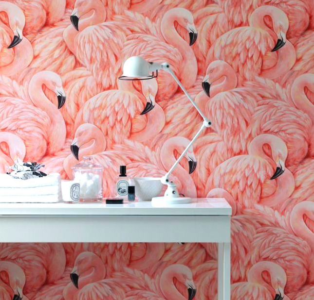 Flock of Flamingos Wallpaper
