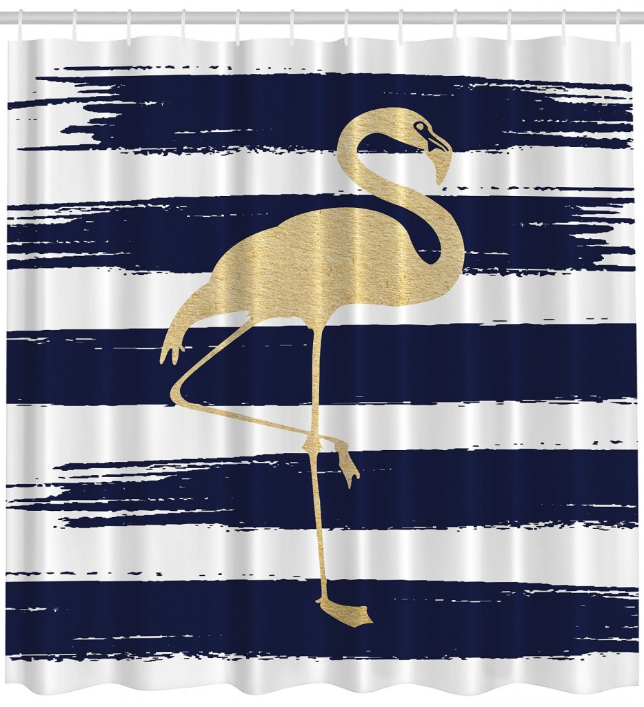 Gold flamingo on a navy and white shower curtain