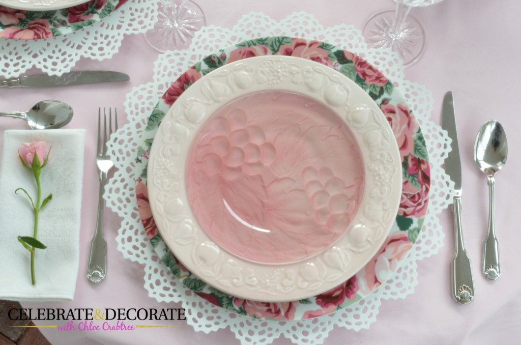 Pink tablescape place setting