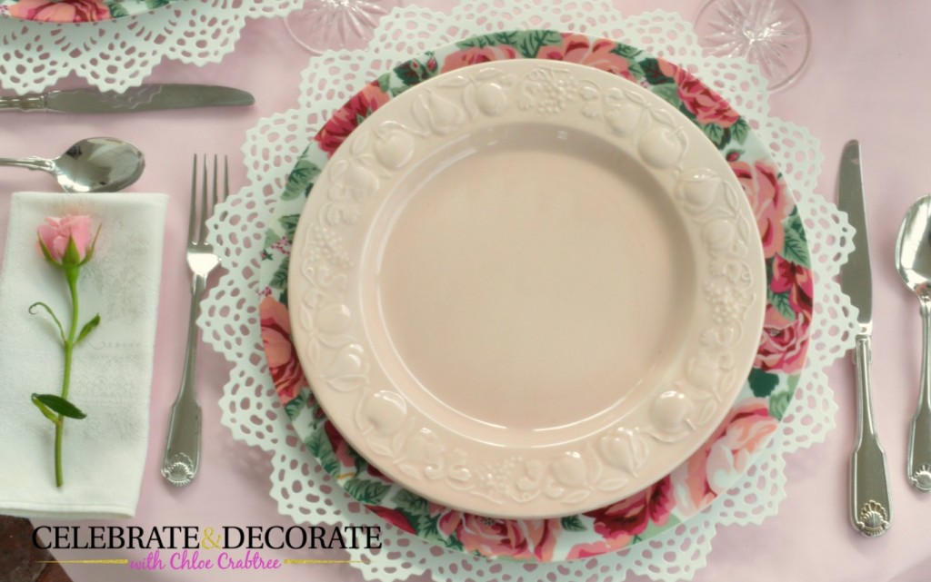 Plate stack for a pretty pink tablescape