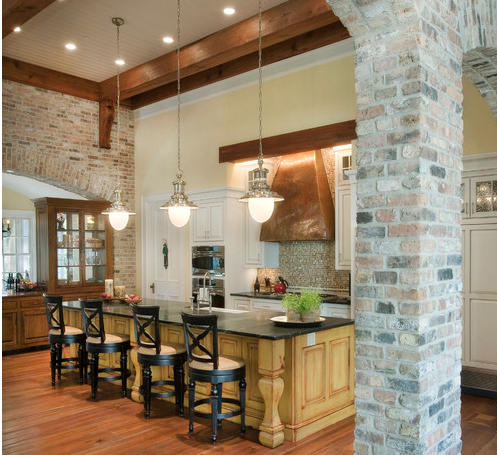 Traditional Kitchen with brick accents.