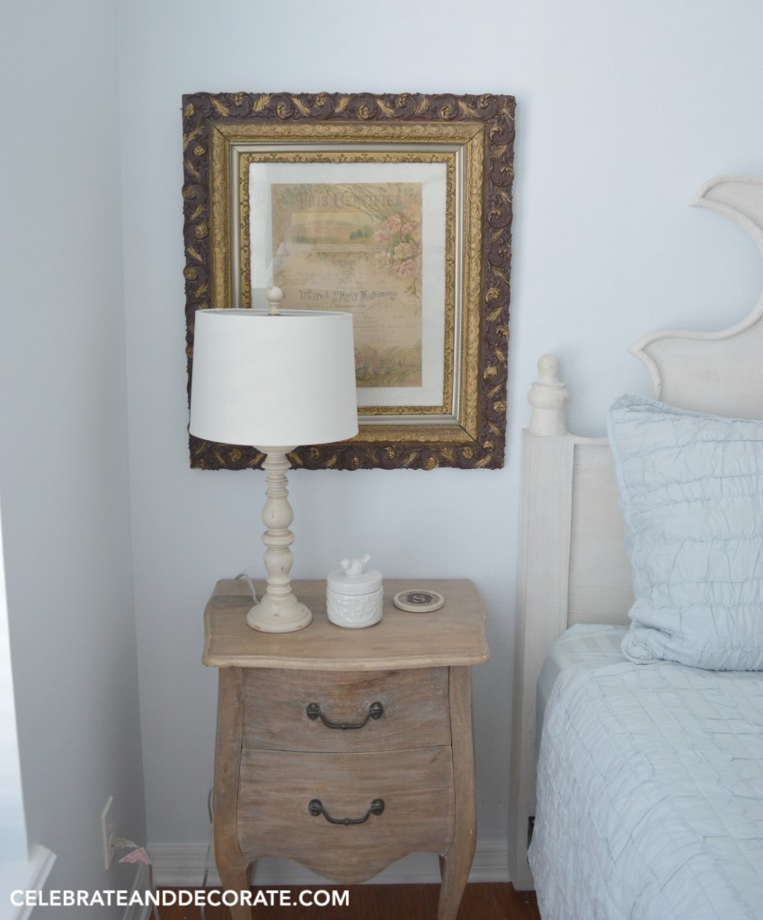 A pretty blue cottage guest room with vintage accents