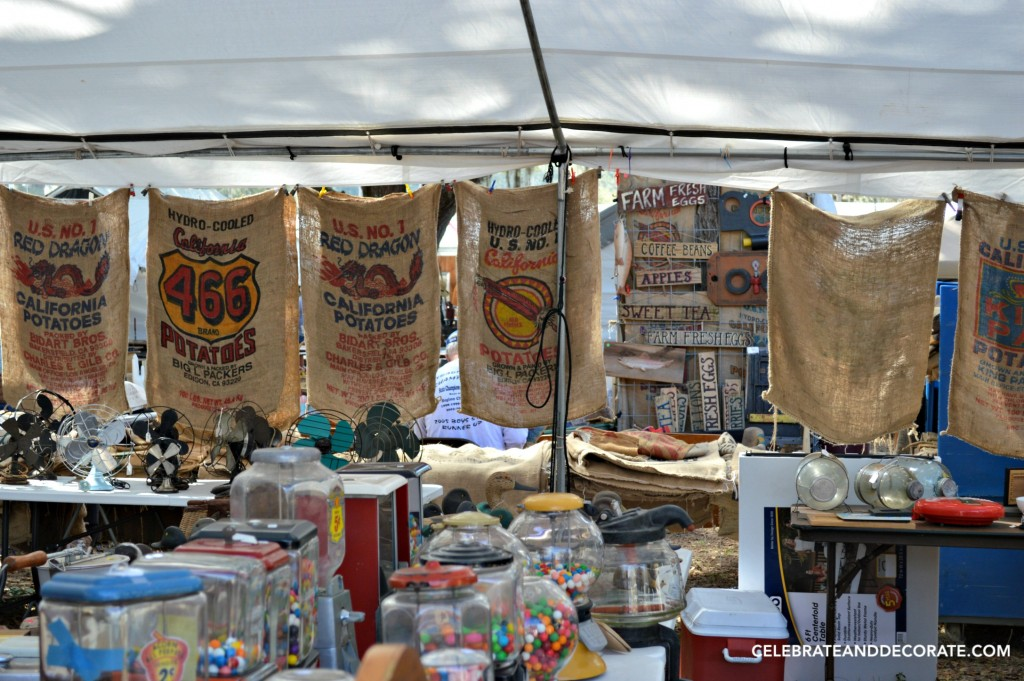 Burlap Bags, fans and bubble gum machines