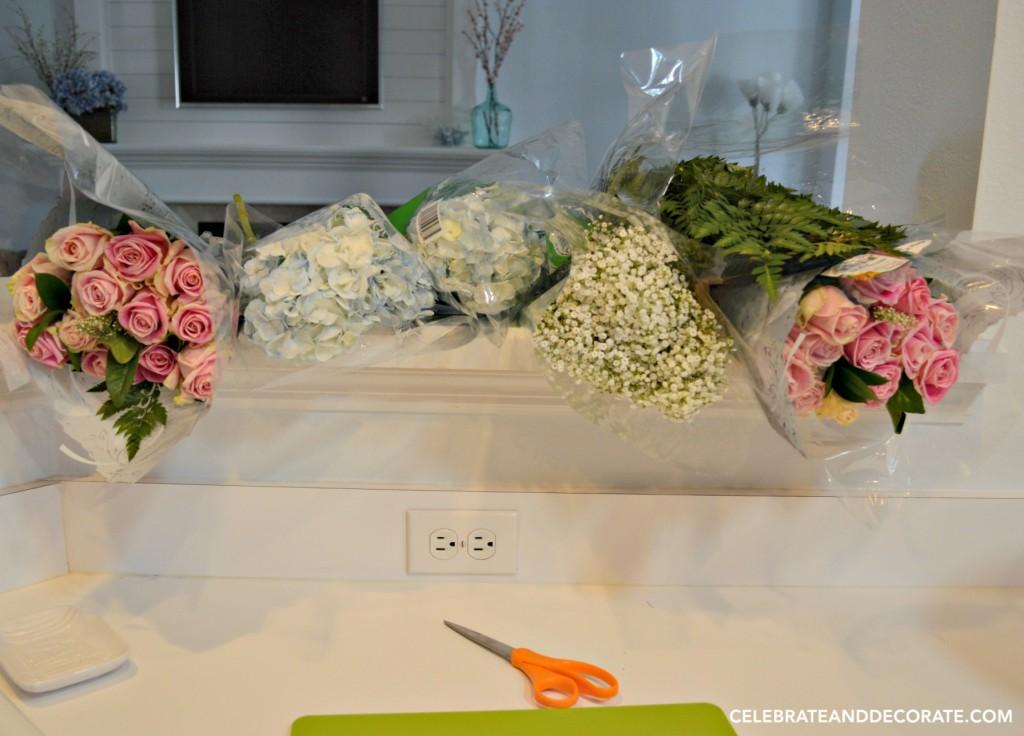 Supplies gathered for a fresh flower arrangement