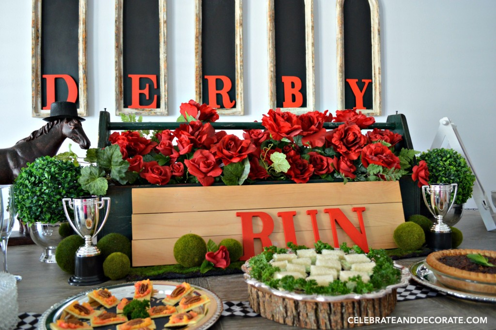 A Kentucky Derby Party Table is set for the Run for the Roses