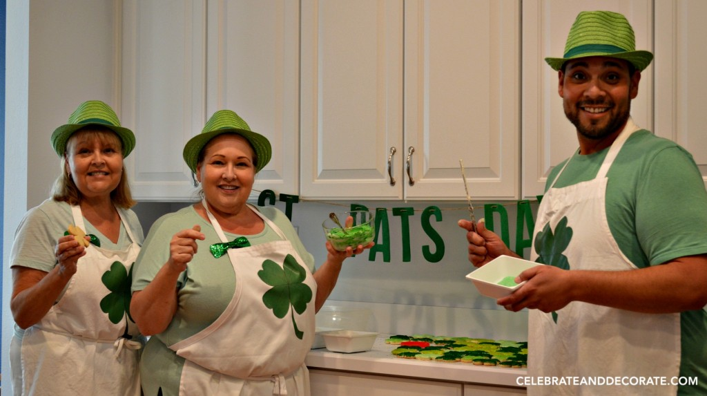 Baking and decorating Shamrock Cookies