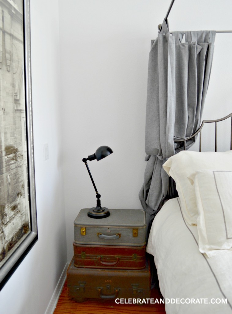 DIY Suitcase bedside stand