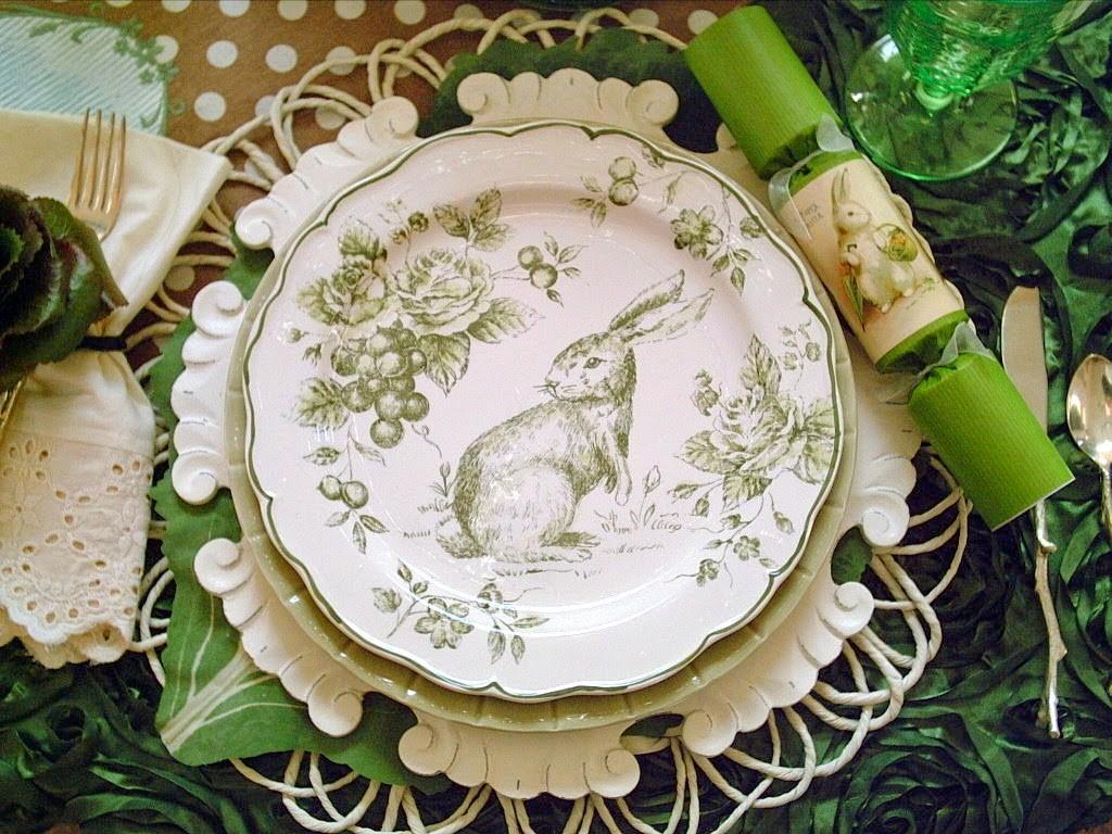 Green Toile Bunny Tablescape