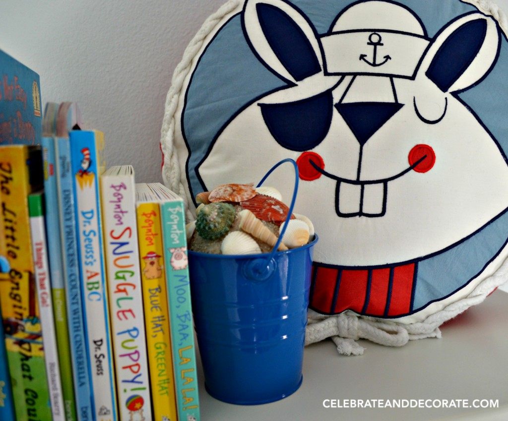 Make these beach pail seashell bucket bookends