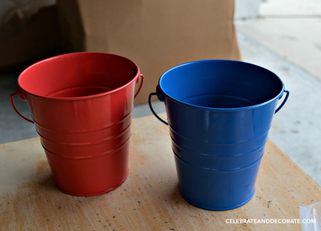 Red and Blue Pails from the Target Dollar Stop